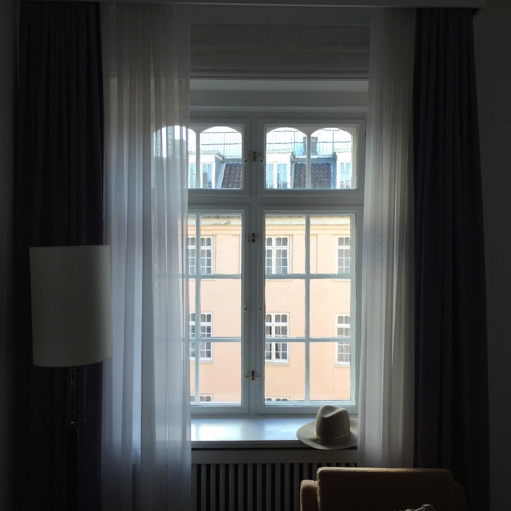 The dreamy window in our hotel room in Copenhagen