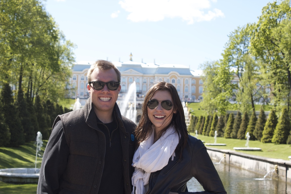 Ross & I in St. Petersburg at Peterhof castle