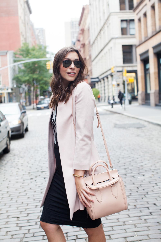 alexander mcqueen heroine bag & pink coat