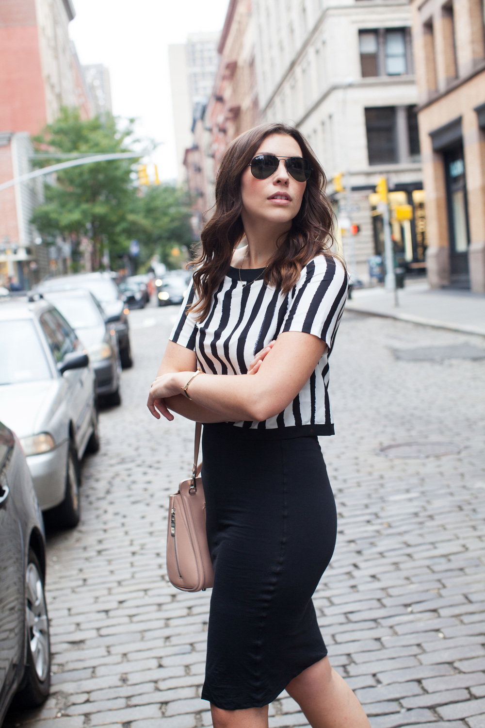 stripe crop top and black pencil skirt