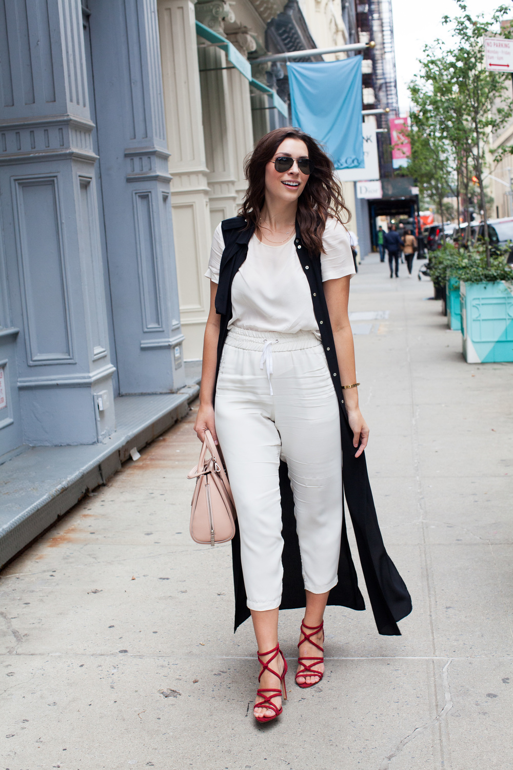 black duster, all white outfit