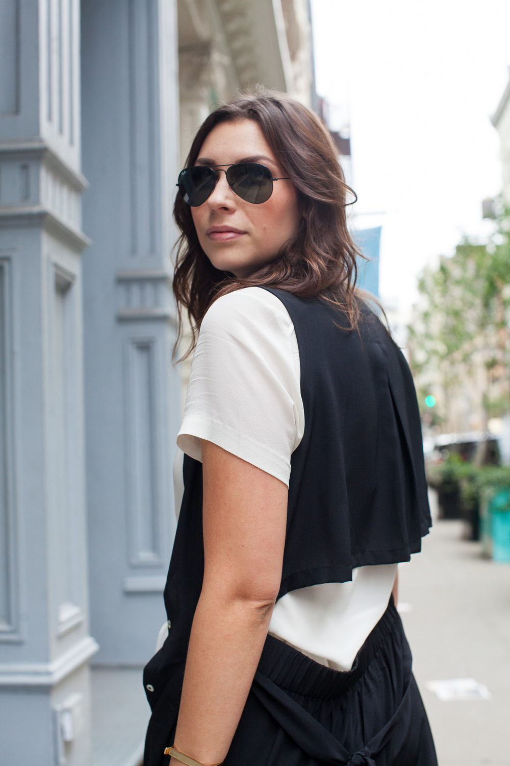 black open back duster and white top