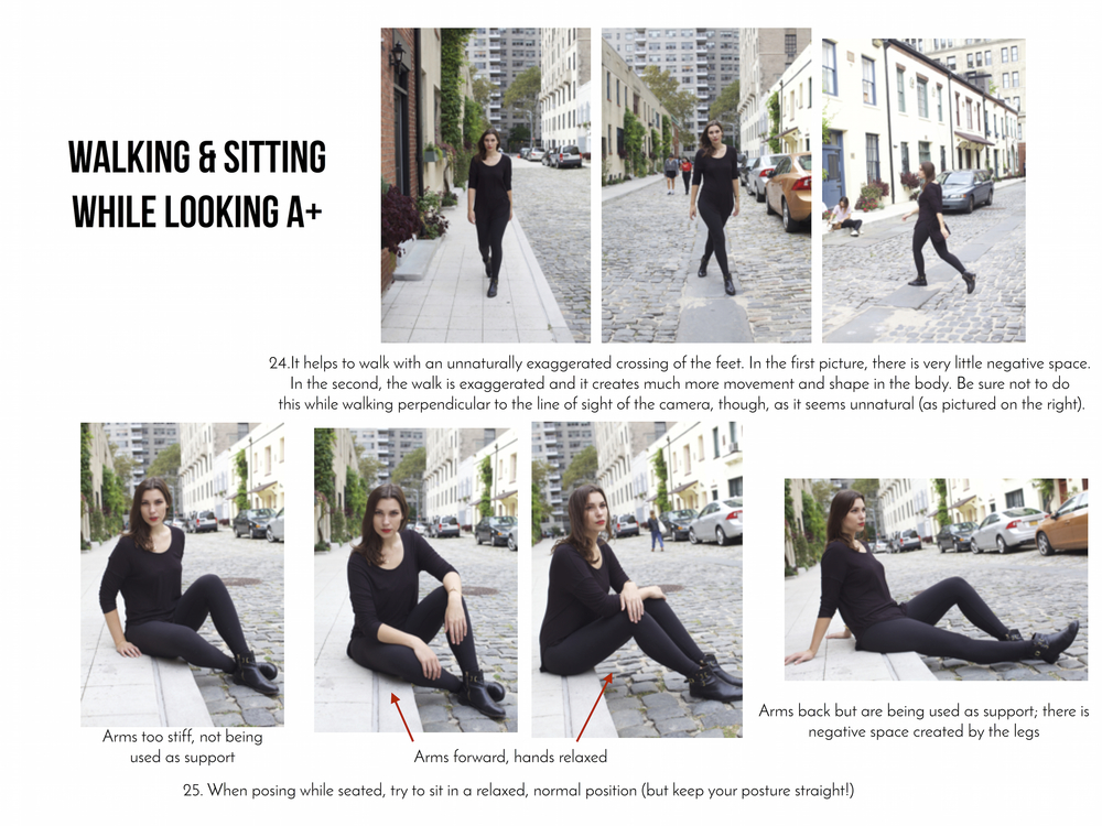 25 modeling tips (walking & sitting)