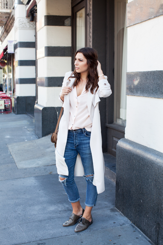 intermix beige trench, pink pajama silk top, boyfriend jeans, chloe marcie bag