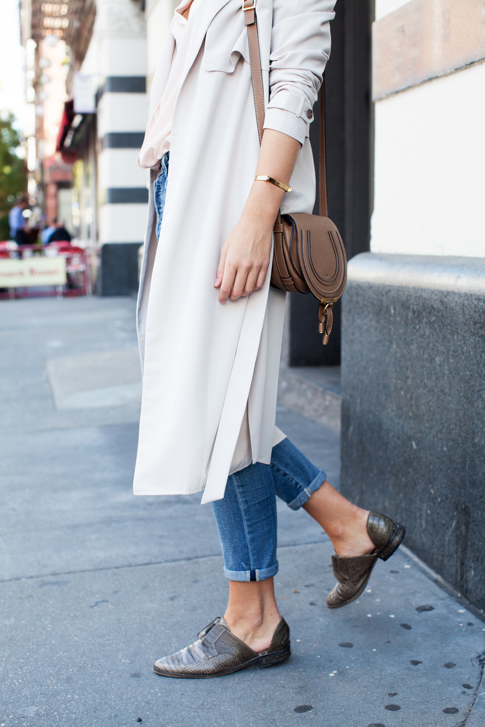 intermix beige trench, pink pajama silk top, boyfriend jeans, chloe marcie bag, freda salvador shoes