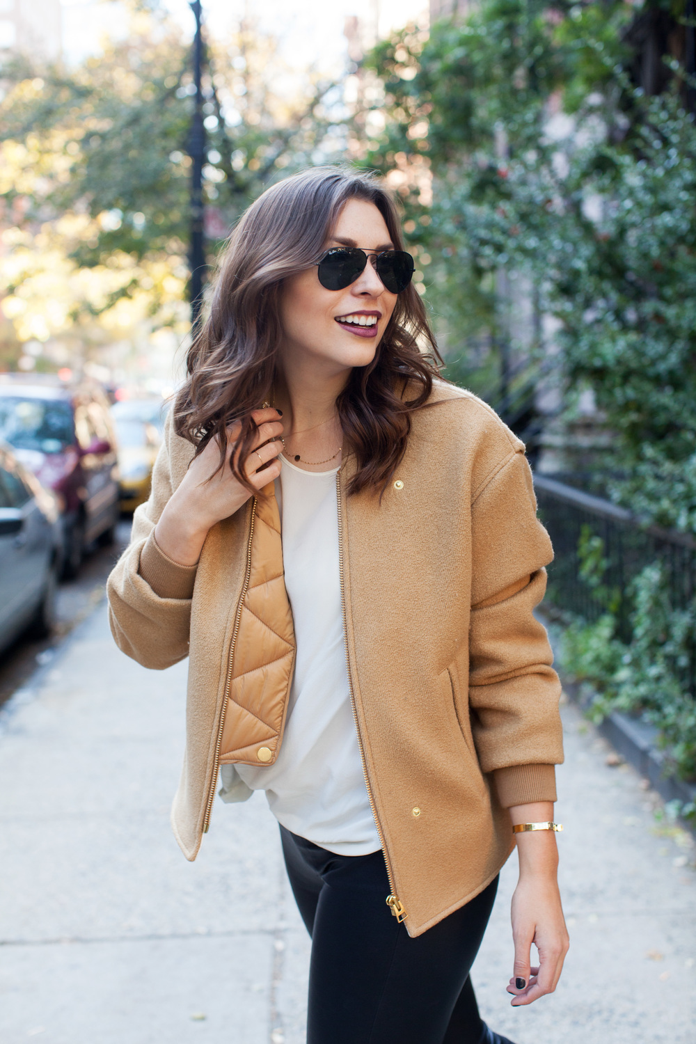 camel wool H&M bomber jacket, helmut lang black leather leggings, otte silk t shirt, black leather freda salvador chelsea boot booties, black ray bans fall outfit
