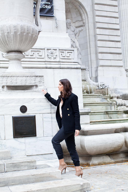 blush silk equipment blouse, black joie jogger pants, chloe bag, stuart weitzman heels, j crew peacoat