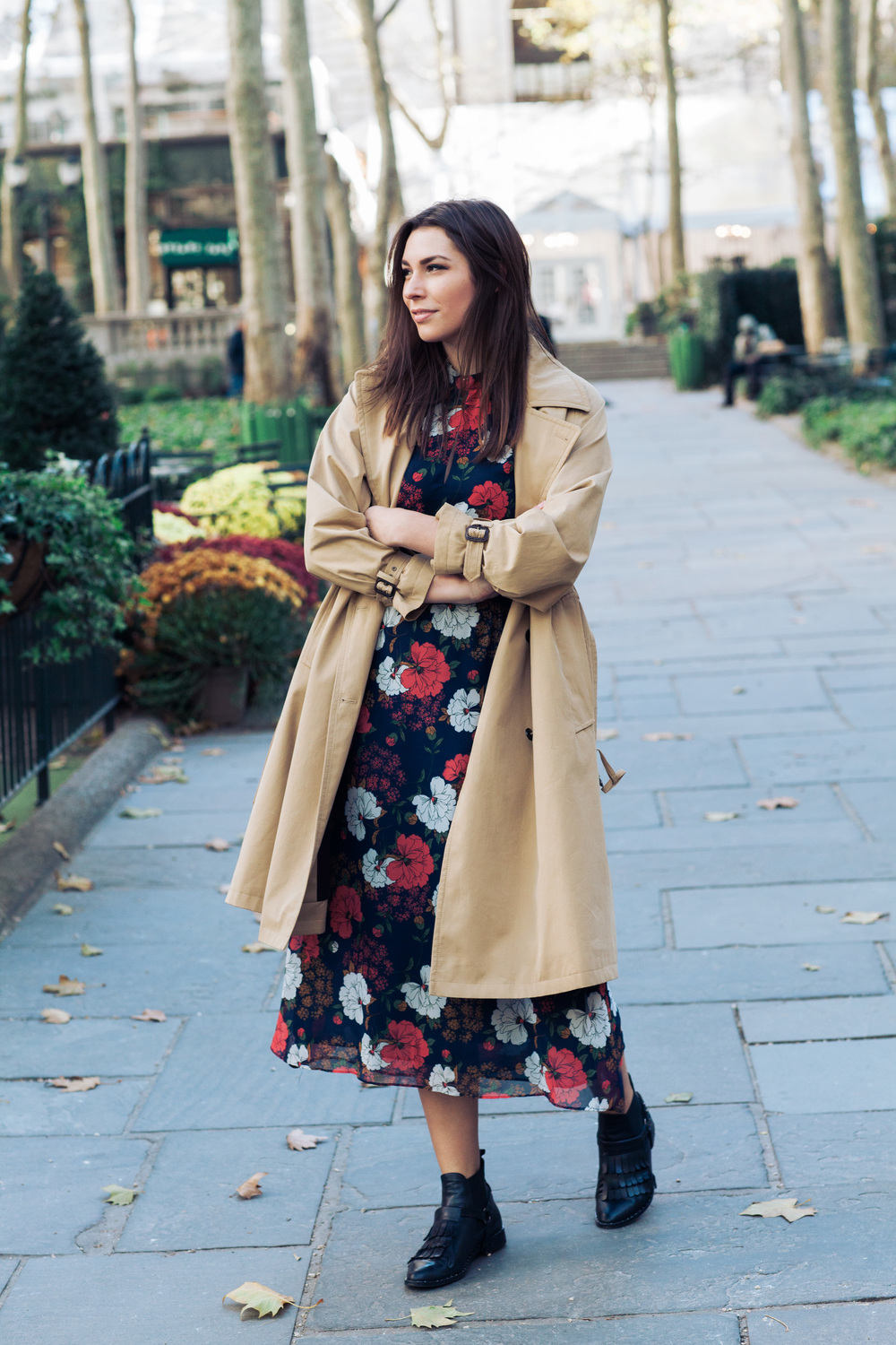 Paul Smith Trench, Zara dress, Freda Salvador Booties in Bryant Park