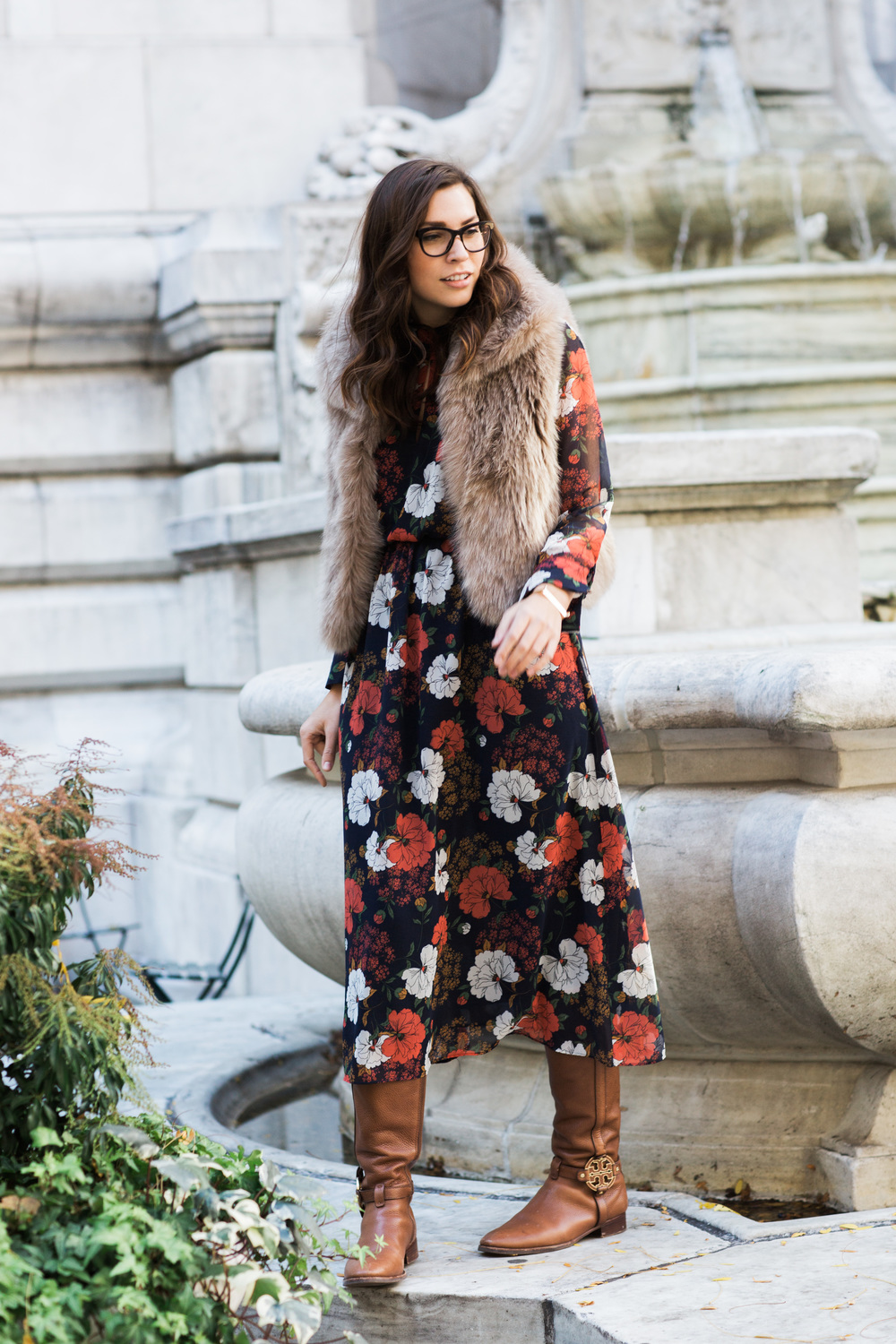 Zara Dress, Elie Tahari Vest, Tory Burch Riding Boots, Dior Glasses