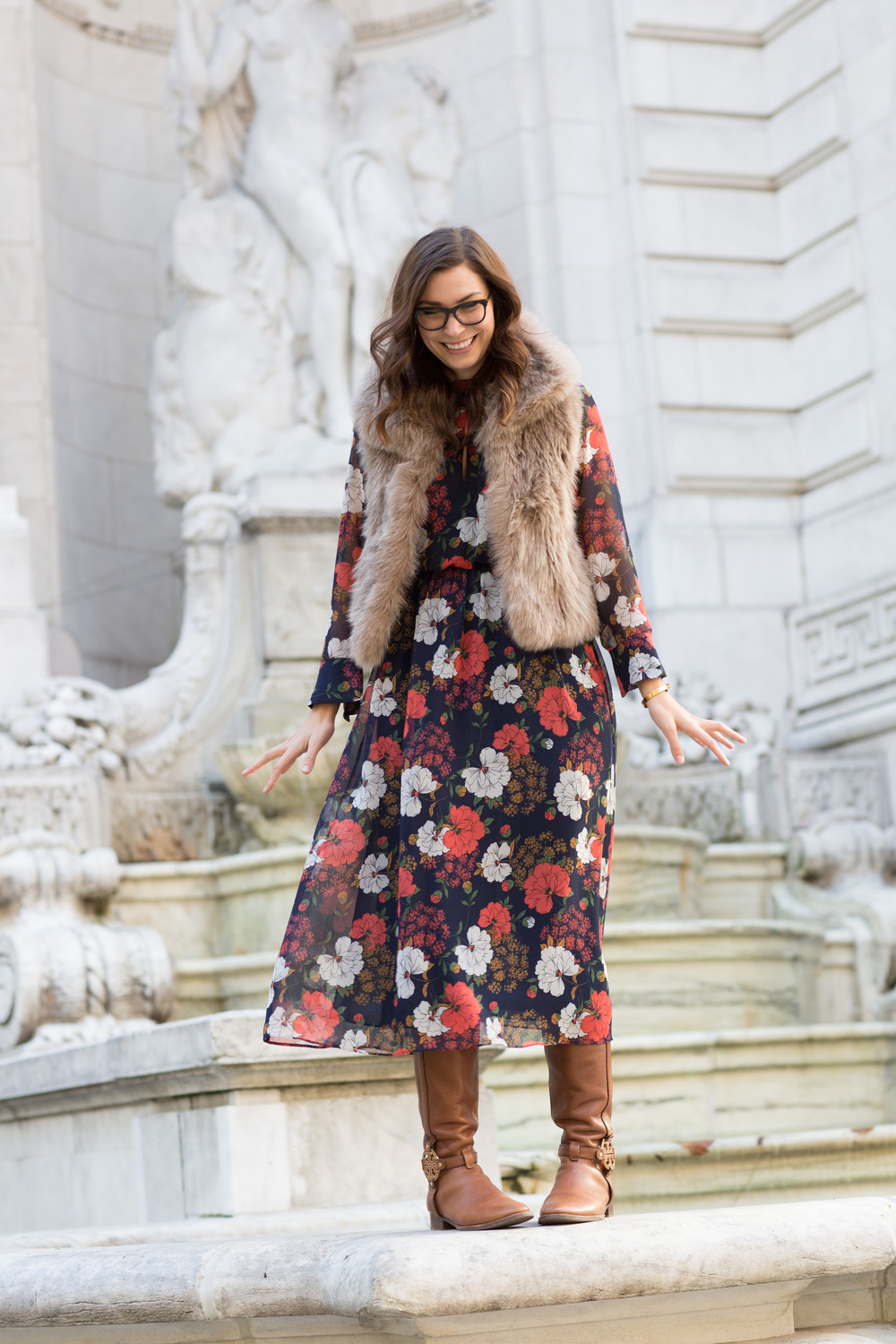 Zara Dress, Elie Tahari Vest, Tory Burch Riding Boots, Dior Glasses... outtake