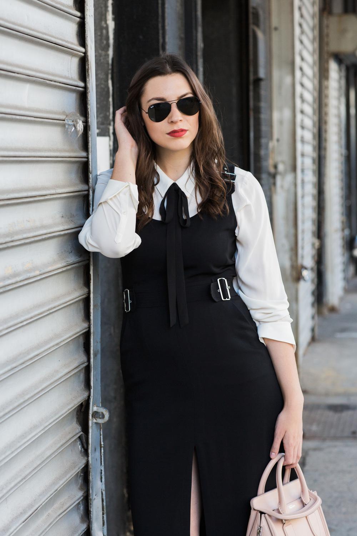 ALC dress, Banana Republic shirt, Ted Baker Heels, Black & White on The Nouveaux