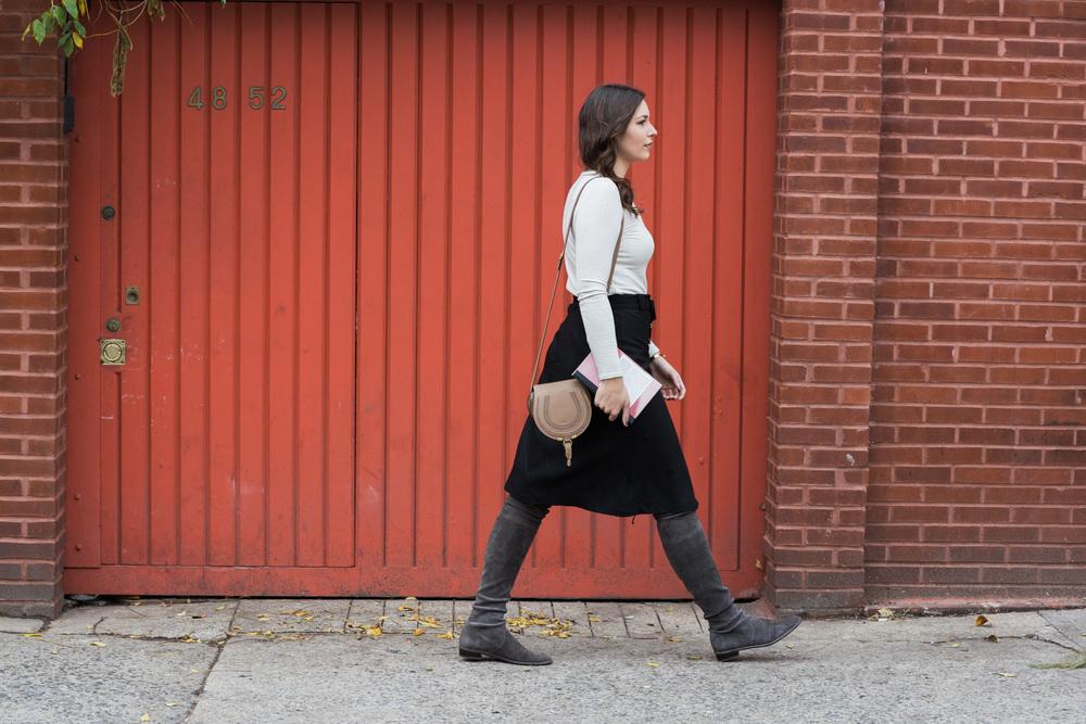 Sea New York Skirt, ATM by Anthony Thomas Melillo Tee, Chloe bag, Stuart Weitzman Lowland boots