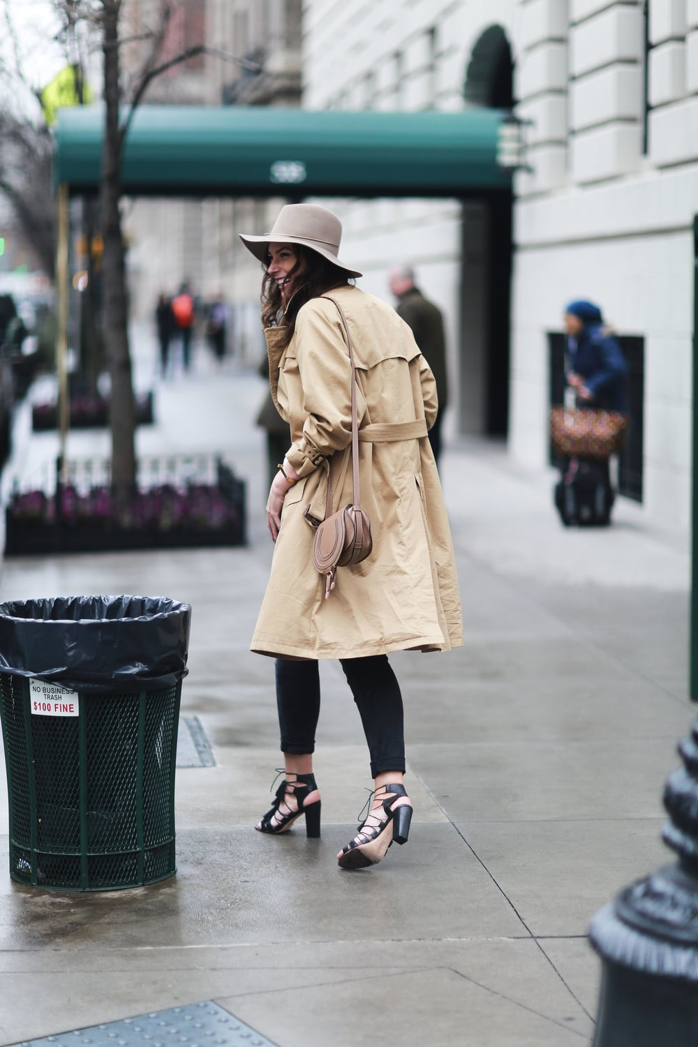 Paul Smith trench coat, acne studios jeans, unif tee, janessa leone hat, loeffler randall shoes, chloe bag