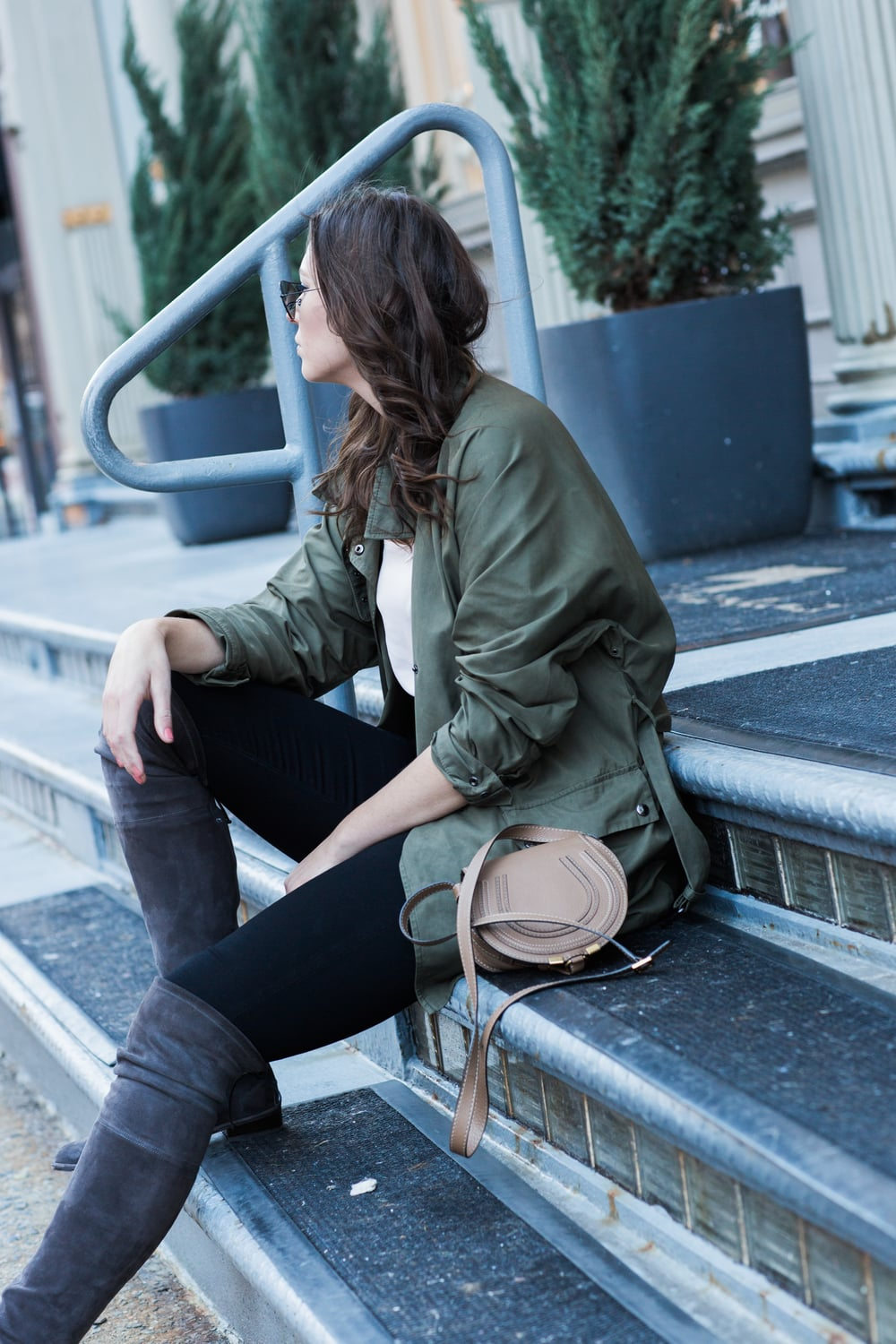 Army green jacket, jeans, Stuart Weitzman lowland suede OTK boots, winter outfit