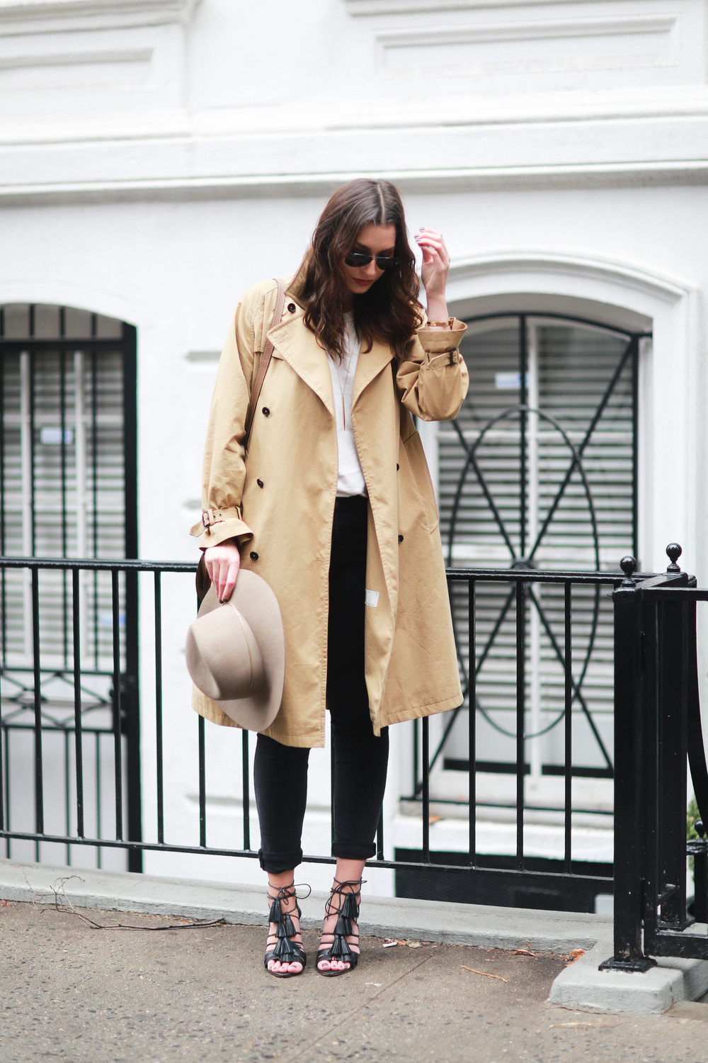 Paul Smith trench coat, acne studios jeans, t-shirt, janessa leone hat & heels. Fall/winter outfit