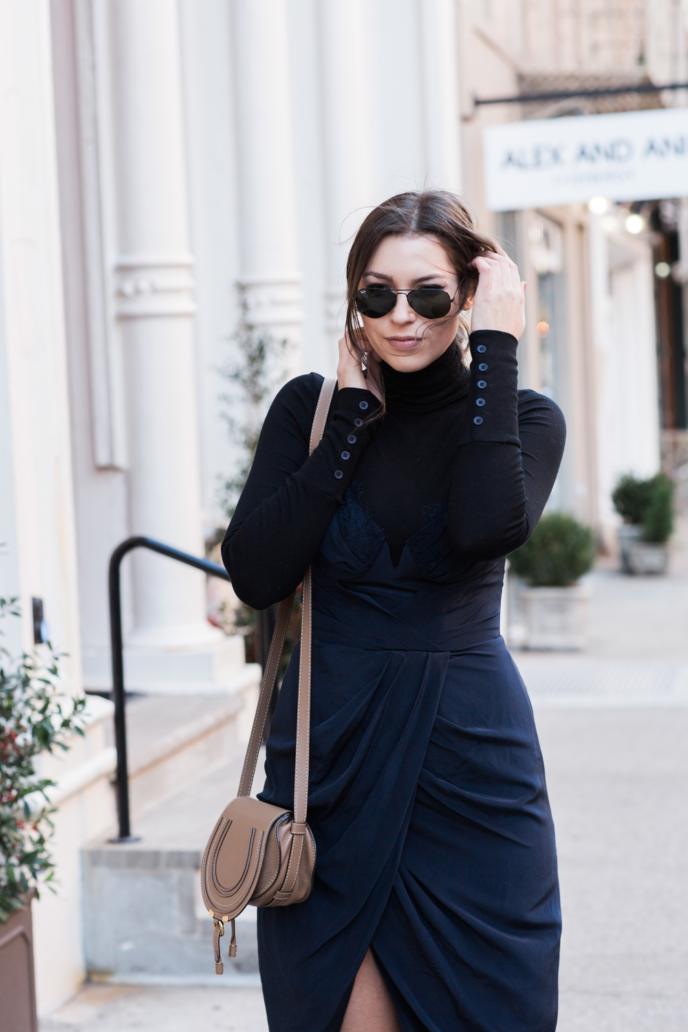 Zimmerman navy dress, stuart weitzman lowland boots, turtleneck layer