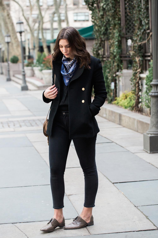 j crew regent coat & acne skin 5 jeans