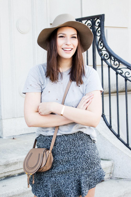 IRO tee, Isabel Marant Miniskirt, Hat, Booties