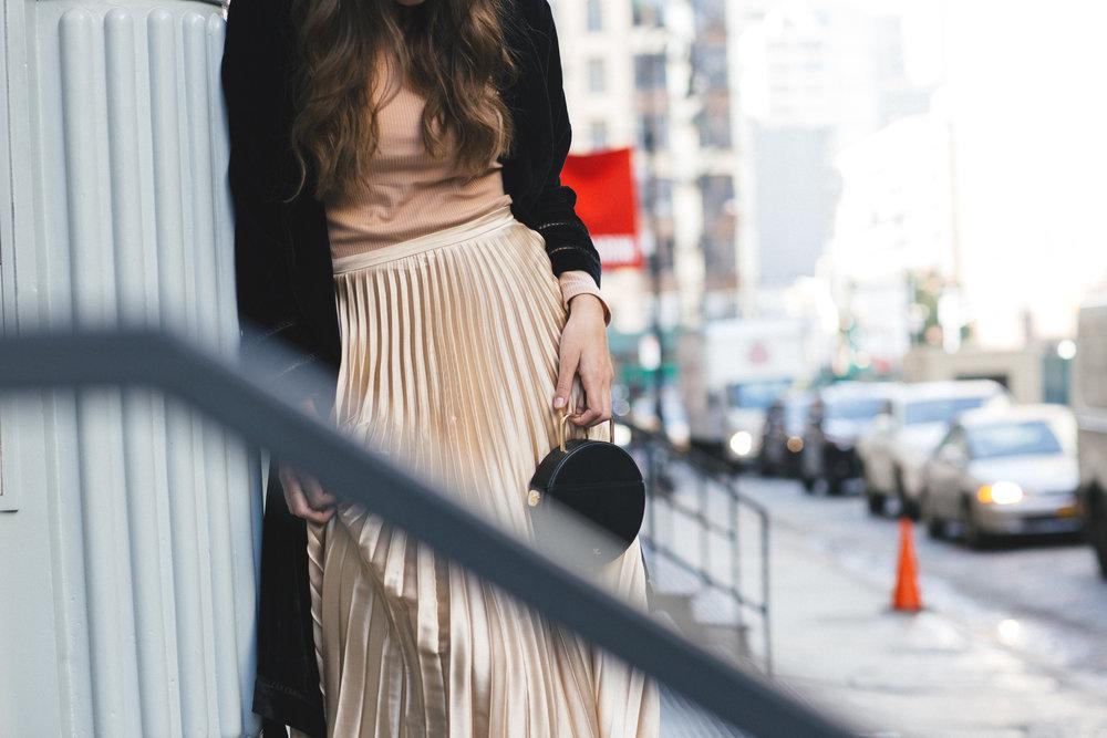 ASOS Pleated skirt, H&M velvet jacket, rachel comey bag, loeffler randall boots