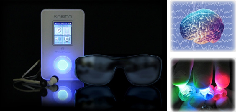 The Kasina GanzFrames utilize 12 LEDs: 3 blue, 2 green and 1 red per eye allowing 255 shades of each color to gently transform your emotional state to a more balanced and calm place of awareness.