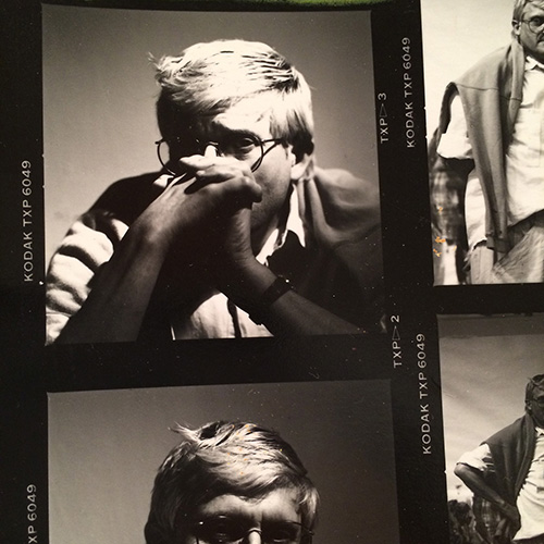 Detail of contact sheet, David Hockney, Los Angeles, 1987