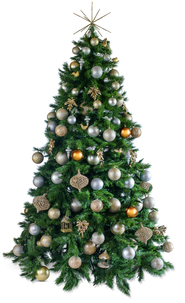 Metallic decorated artificial Christmas tree