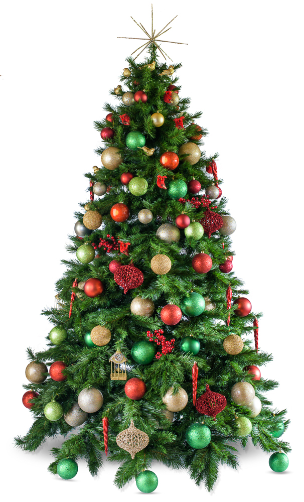 Traditional decorated artificial Christmas tree