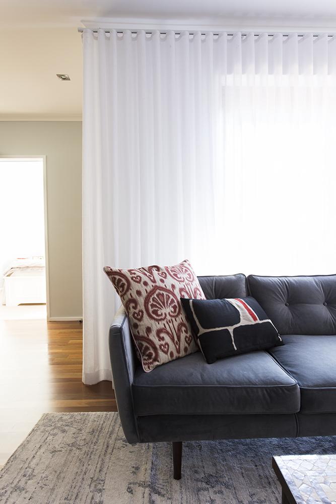 Curtains velvet couch interior designer Melbourne