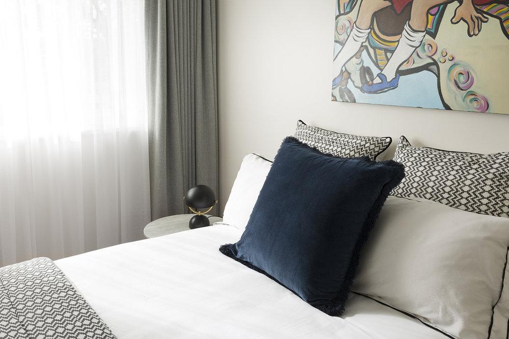 Black Rock bedroom by Melbourne interior designer Meredith Lee