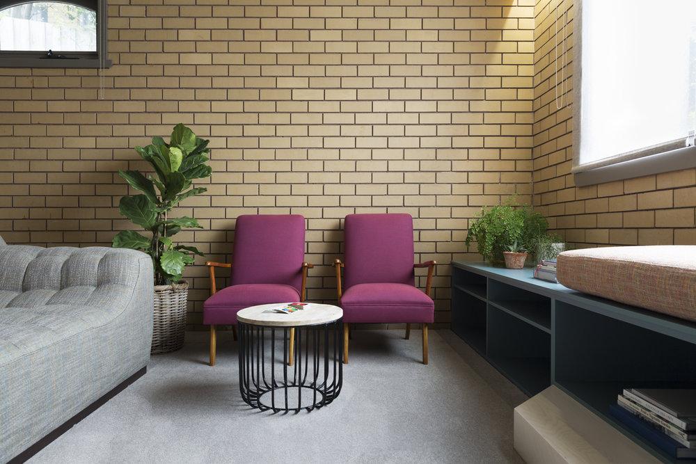 Retro rumpus room design by Interior designer Meredith Lee, Mt Waverely home Melbourne