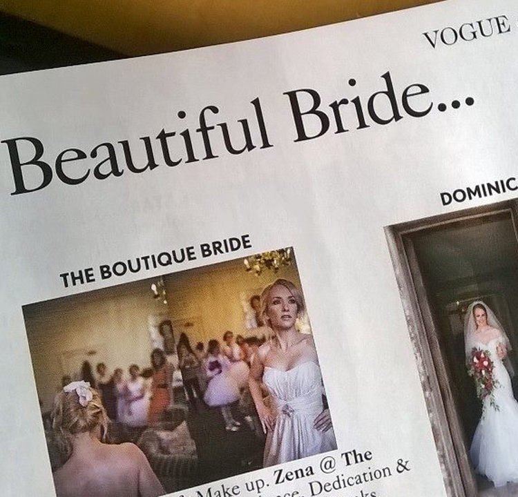 Page 415 of the March 2015 edition of British Vogue showing our pictures of beautiful Suffolk wedding venue The Ickworth Hotel - shots by Lisa from Him and Her wedding photography