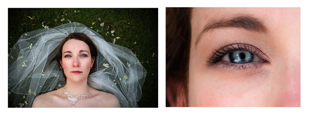 A close up of a Brides eye taken from the original portrait shown left.