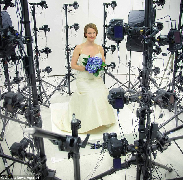 A Bride sits for a 3D modelling wedding portrait.