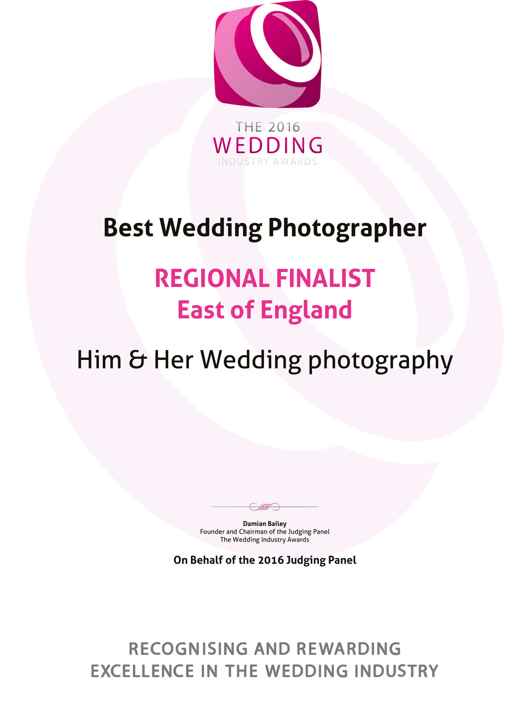 Regional finalist Suffolk certificate for Best wedding photographer