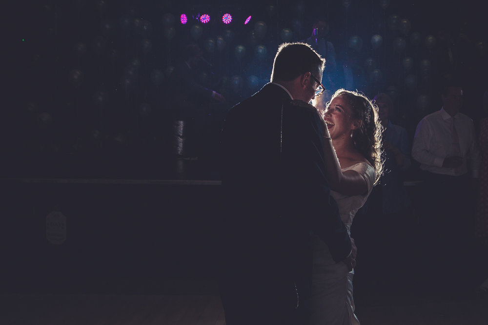 First dance against a backdrop of balloons