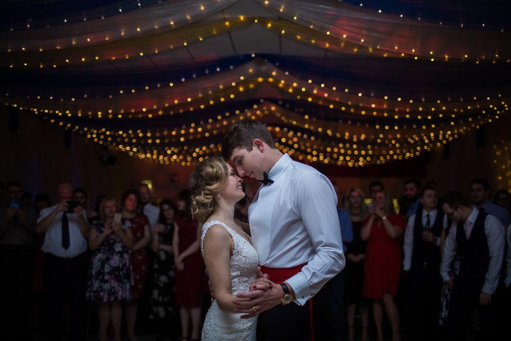 Romantic first dance for wedding couple in Horringer near Bury St Edmunds