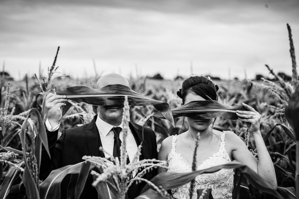 Surreal wedding portrait at Vaulty Manor Essex