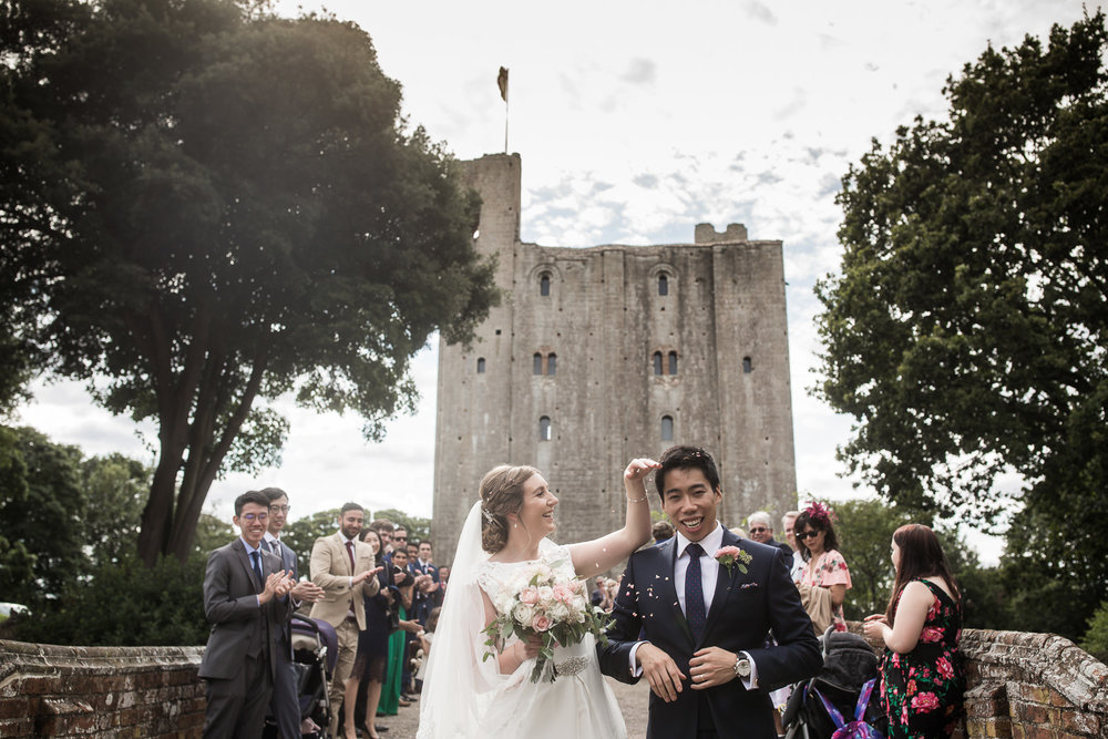 Headingham Castle wedding with confetti