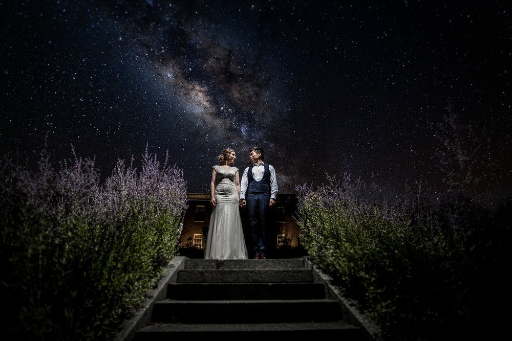 Headingham Castle wedding portrait set against milky way background