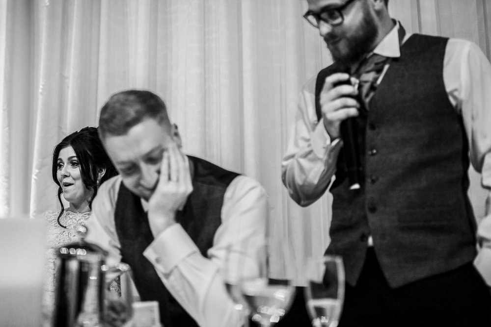 An awkward moment for a Groom during the best mans speech