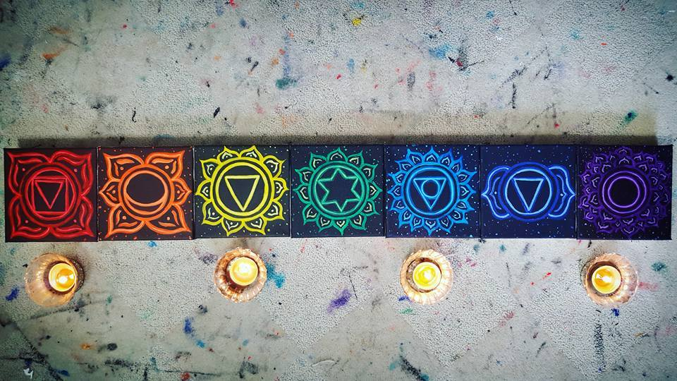 Chakra paintings by my friend Stephanie Weiss. You can buy them on Etsy!
