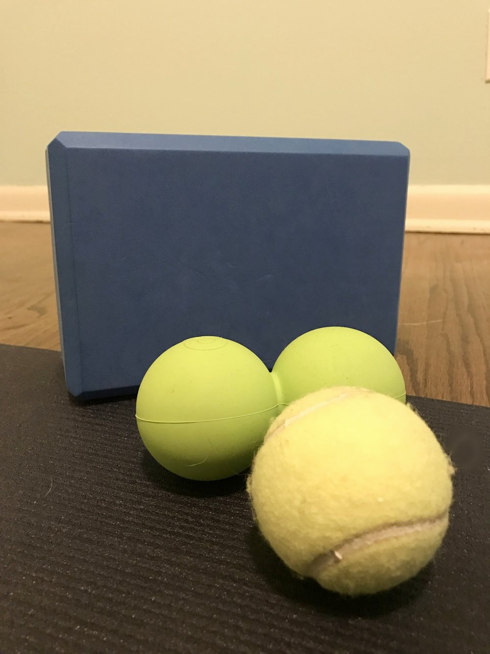 therapy balls and yoga block