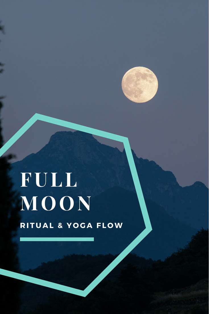 Full Moon ritual, journaling exercise for setting intentions and a lunar yoga flow (moon salutations!)