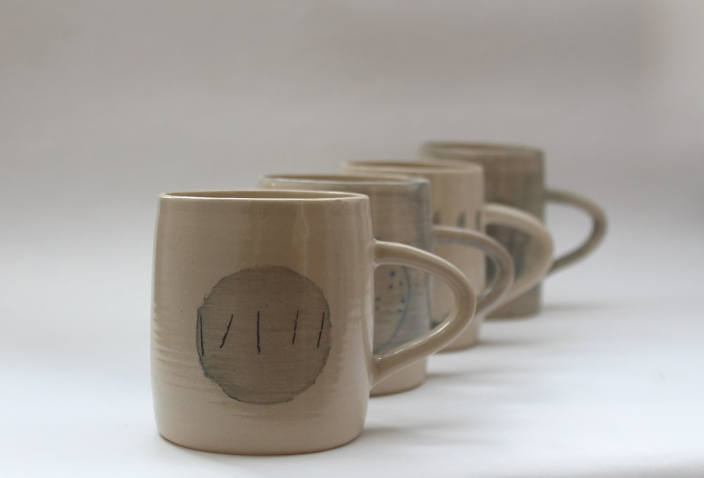 Kate Welton, Tapered Mugs, thrown stoneware with slip decoration.jpg