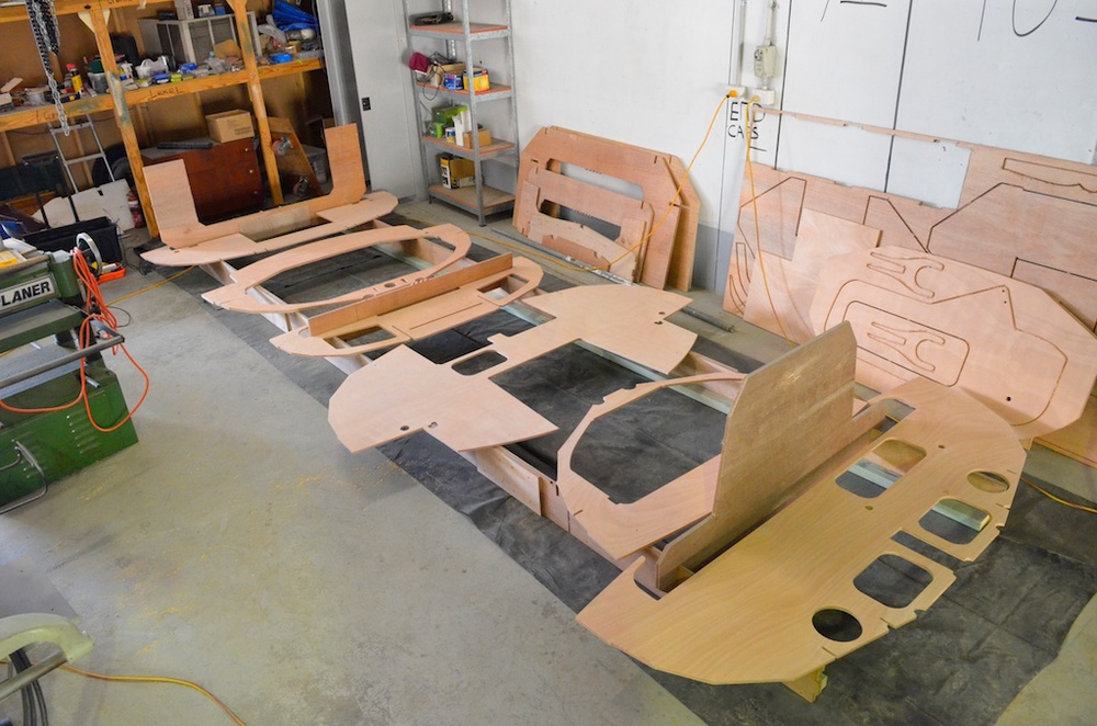 Frames laid out on building jig ready for sealing
