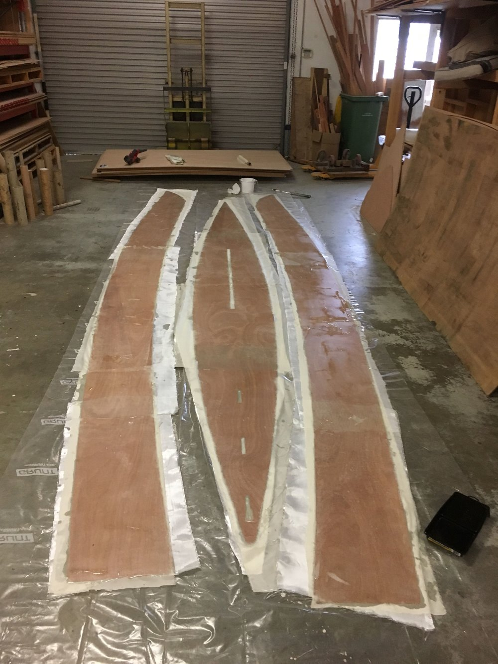Keel and garboard panels, sheathed on the inside before fitting to building jig.