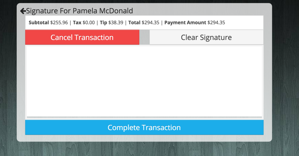 Customer can sign and complete or cancel their transaction.