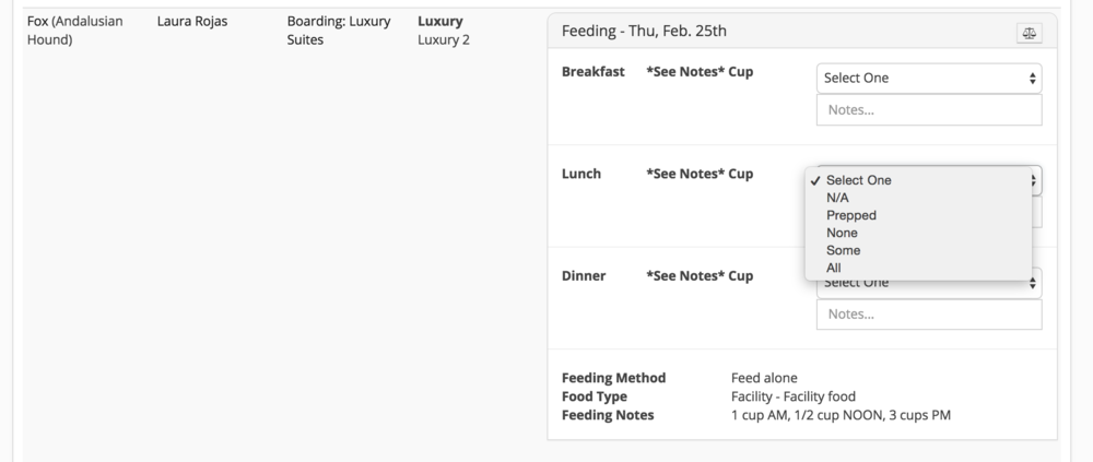 The feeding/medication report now allows you to customize every dropdown and field that it uses.