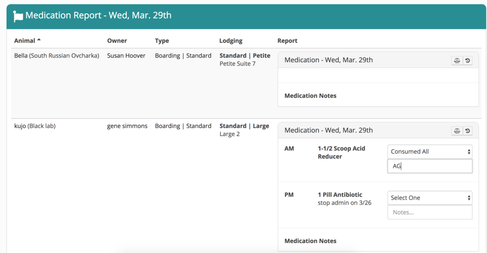 A paperless medication report in Gingr. The user can actively enter notes and update status of medication administration. Each day's report is automatically stored and can be retrieved readily.