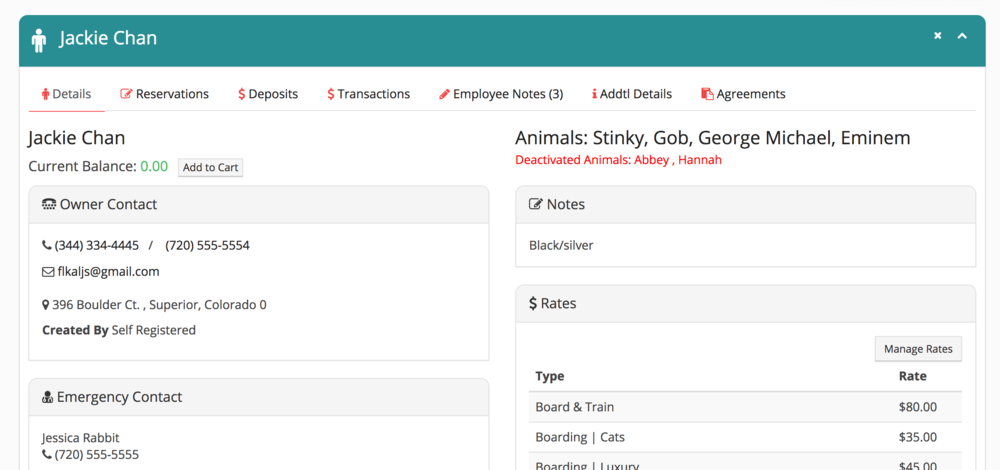 Custom registration form for owners and animals